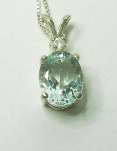 aquamarine in sterling silver pendant