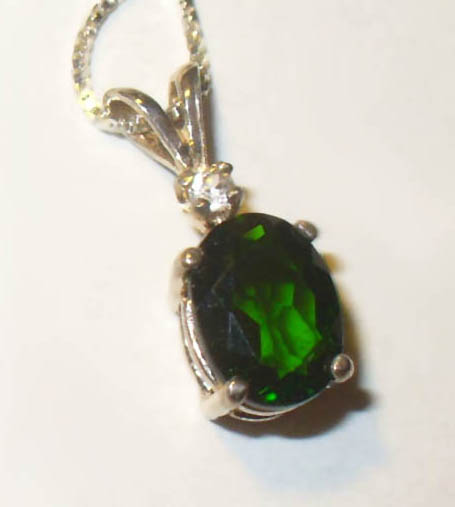 Chrome Diopside Pendant in Sterling