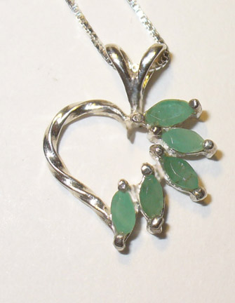 genuine emeralds in heart pendant