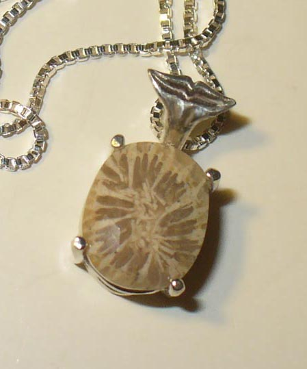 fossil coral in sterling silver